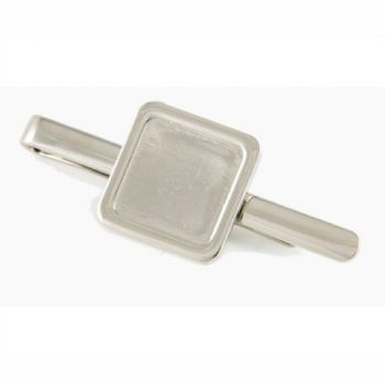 Tie Slide Blank 16mm Square Silver and clear dome